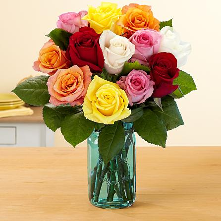 Send 12 Assorted Roses Flowers to USA from Pakistan