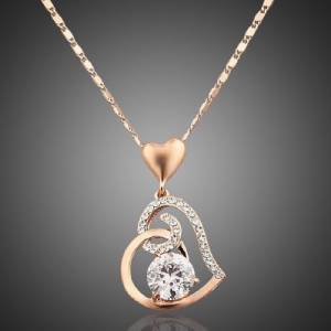 18K GOLD PLATED HEART PENDANT NECKLACE with GIFT BOX BIRTHDAY GIFT Anniversary to USA from Karachi Lahore islamabad to usa