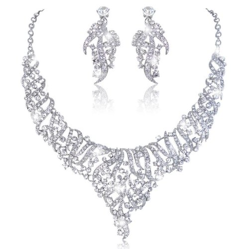 EVER FAITH Wedding Leaf Cluster Necklace Earrings Wedding Anniversery Birthday Gifts to USA UK Germany from Karachi Lahore Rawalpindi
