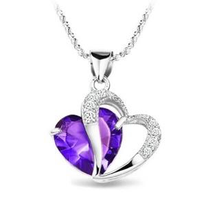 Fashion Austrian Crystals Heart Shape Pendant Necklace