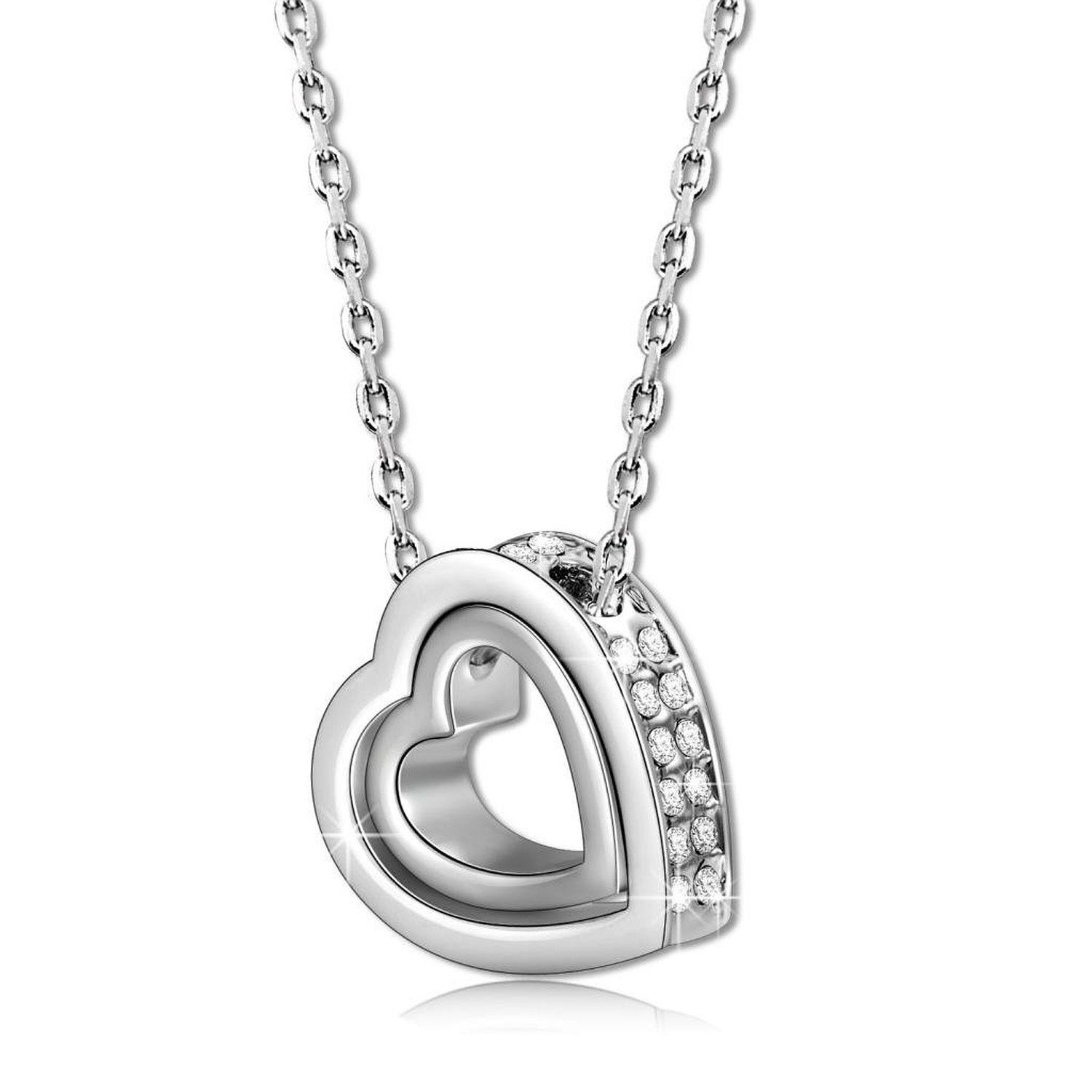 Love & Heart Crystal Women Necklace Birthday Gift for Mother Wife w/ Box
