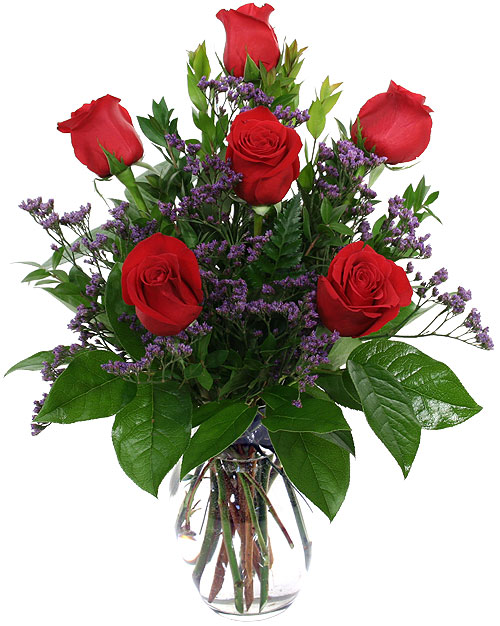Red Roses with Limonium from Pakistan to Canada
