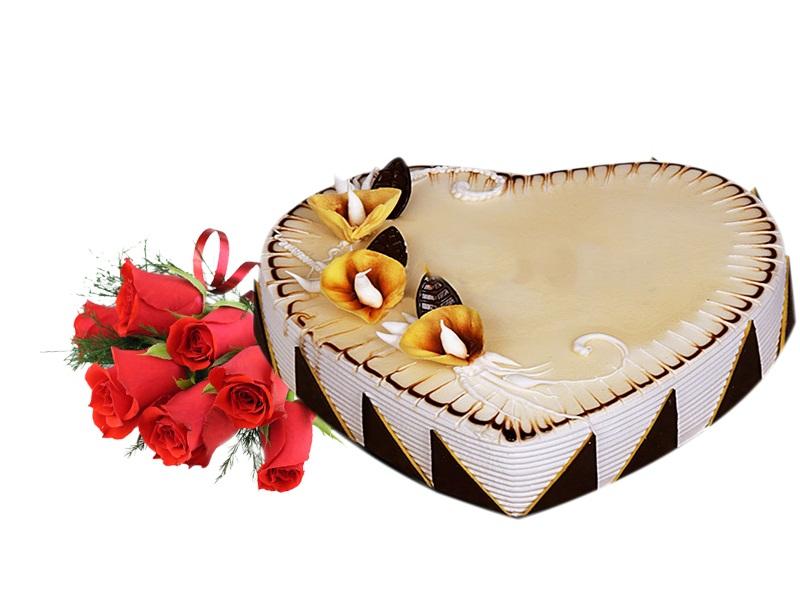 Send Heart Shape Cake Flower combo To Dubai
