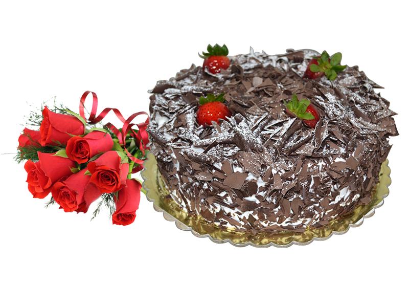 Black Forest Cake & 6 Red Roses Combo To Dubai Abu Dhabi UAE