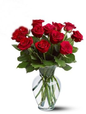 12 Red Rose Flowers Bouquet To Canada from Karachi Lahore Islamabad Pakistan