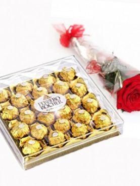 SEND FERRERO CHOCOLATE WITH ROSE Gift TO UAE