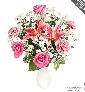White Petite, Lily, Pink Roses Wedding Anniversary Gift for Husband Wife Flowers from Pakistan to London Manchester Leeds New Castle UK
