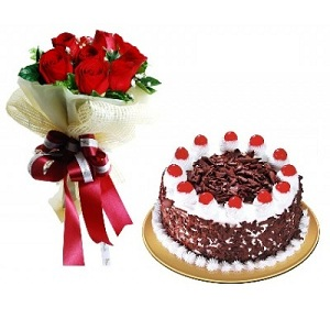 12 Red Roses Flowers Black Forest Cake Order Birthday Gift To Dubai UAE From Pakistan