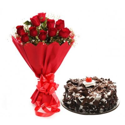 6 Roses Flowers Black Forest Cake Birthday Anniversary Online Gift Shop Pakistan To Dubai Abu Dhabi