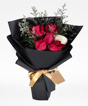 5 Red Roses Flowers Bouquet Online Gift Shop Pakistan To Dubai Abu Dhabi