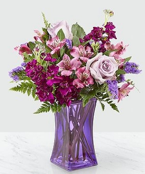Purple Lavender Roses With Free Vase Birthday Wedding Flowers Gifts
