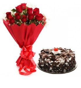 12 Red Roses Flowers & Black Forest Cake Birthday & Wedding Anniversary Gift to Dubai Abu Dhabi UAE from Karachi Lahore Islamabad
