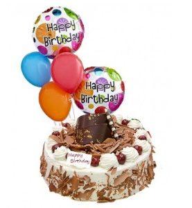 5 Balloons & White / Black Forest Cake Birthday & Wedding Gift to Dubai Abu Dhabi Sharjah UAE from Karachi Lahore Islamabad