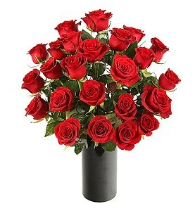 24 Red Roses Flowers in a bouquet delivered to UK from Pakistan.