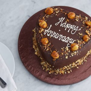 Halal anniversary birthday chocolate caramel macadamia nuts heart shaped cake