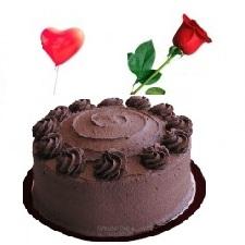 DARK CHOCOLATE CAKE BALLOON 1 ROSE BIRTHDAY GIFT TO DUBAI ABU DHABI UAE FROM PAKISTAN