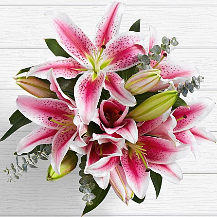 beautiful lilies bouquet for anniversary birthday congratulatory celebratory occasion from SINDH KPK AJK to ARIZONA ARKANSAS USA