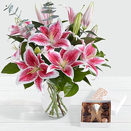 fragrant delicate stemmed greenery lilies perfect for anniversary birthday celebratory congratulatory well wishes special occasion just for thanks him her boyfriend girlfriend KHI ISB RWP PK to AL AK AZ AR USA