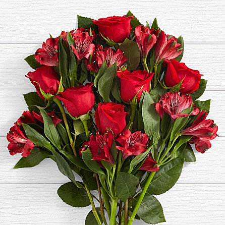 ruby red roses with lilies for anniversary birthday celebratory congratulatory well wishes from SINDH PUNJAB to ALABAMA ALASKA