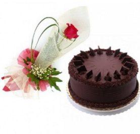 Single Rose & Chocolate Cake to Dubai Abu Dhabi Sharjah UAE from Karachi Lahore Islamabad Pakistan