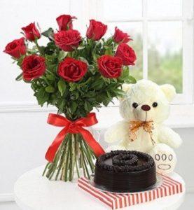 Chocolate Cake 1Kg, 6 Red Roses & Teddy Bear to Dubai Abu Dhabi Fujairah Ras Alkhaimah Sharjah UAE from Pakistan