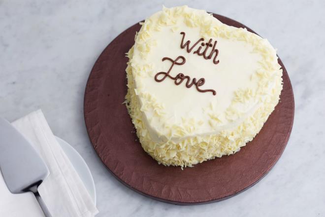 Anniversary Birthday Halal Heart Shaped Vanilla Cake