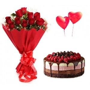 12 roses + Chocolate Berry cake + 2 Balloons Birthday Gift Combo To Dubai  Sharjah Abu Dhabi UAE