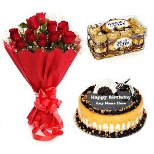 12 roses + Chocolate cake + Ferrero Rocher Chocolate