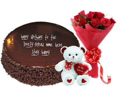 Chocolate Cake 6 Roses Plush Teddy Bear Birthday Gift Combo To Dubai Sharjah Abu Dhabi UAE