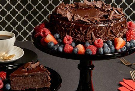 chocolate fudge anniversary birthday valentines day roses cake gift box present from KHI ISB RWP to USA