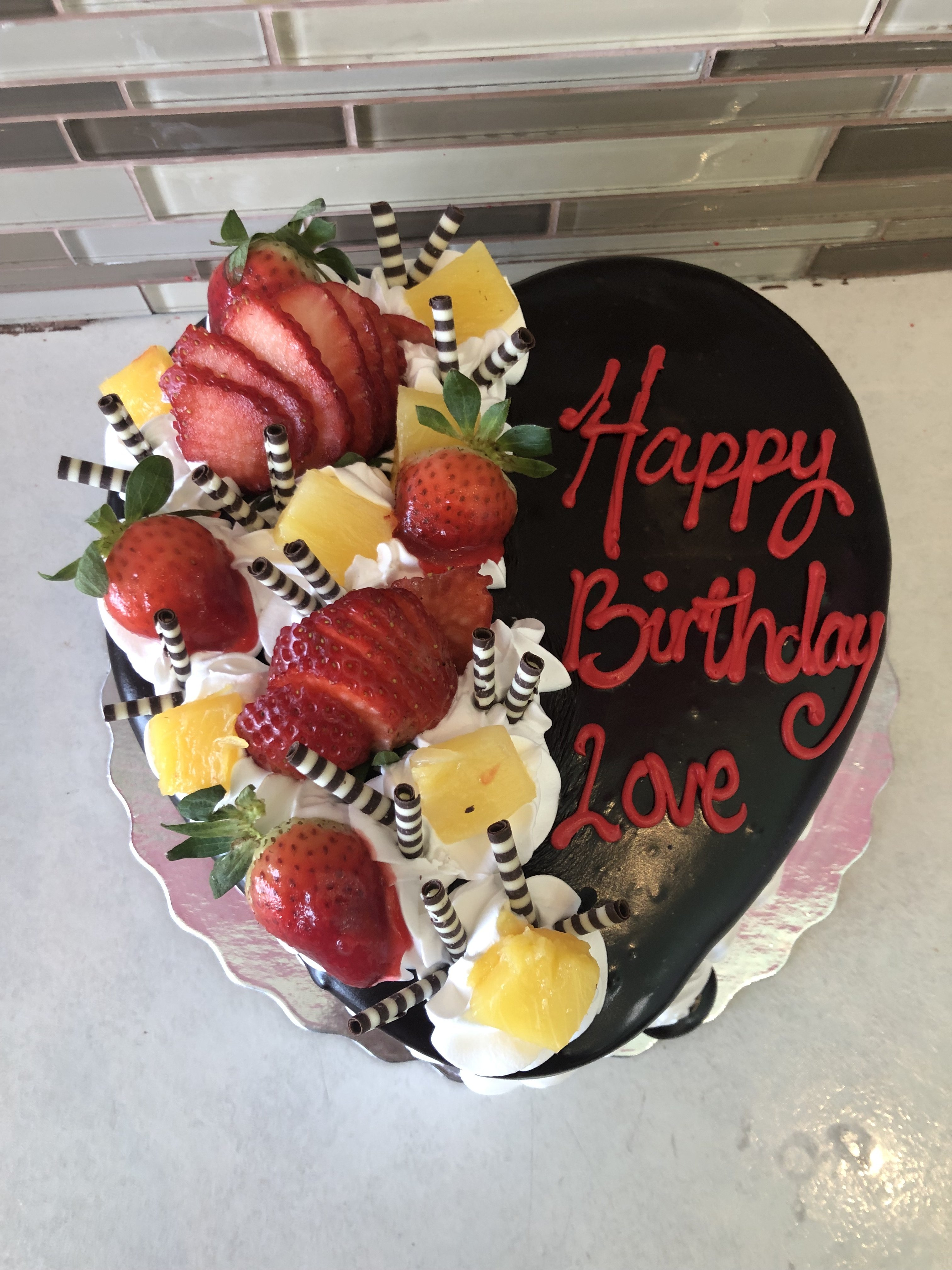 Super Fruits On A Heart Shaped Cake To Toronto Brampton Scarborough Funny Birthday Cards Online Chimdamsfinfo