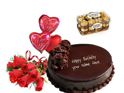 Chocolate Cake 6 Roses Ferrero Rocher Balloons Birthday Gift Combo To Dubai Sharjah Abu Dhabi UAE Courier Company Karachi PakistanCakesFlowers