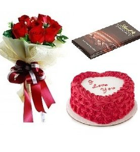 Heart cake + Lindt Chocolate +6 roses Birthday Gift Combo To Dubai Sharjah Abu Dhabi UAE