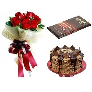 Snickers cake + Lindt Chocolate +6 roses Birthday Gift Combo To Dubai  Sharjah Abu Dhabi UAE
