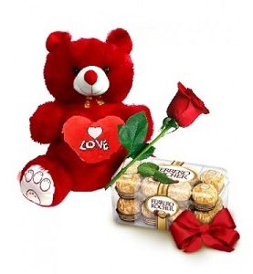 Teddy Bear + 1 Rose + Ferrero Rocher Birthday Gift Combo To Dubai Sharjah Abu Dhabi UAE