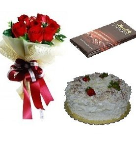 White Forest cake + Lindt Chocolate + 6 flowers Birthday Gift Combo To Dubai Sharjah Abu Dhabi UAE