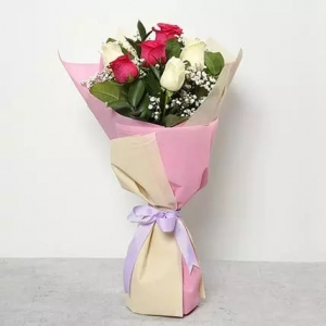 3-pink-and-3-white-roses--roses-bouquet-birthday-anniversary-flowers-karachi-lahore-islamabad-to-riyadh-saudi-arabia