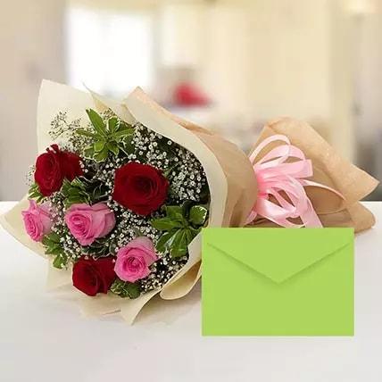 6 Red & Pink Birthday Roses- birthday-anniversary-flowers-karachi-lahore-islamabad-to-jeddah-saudi-arabia