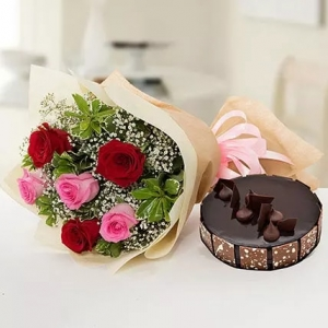 beautiful-roses-bouquet-with-chocolate-cake-birthday-anniversary-flowers-karachi-lahore-islamabad-to-jeddah-saudi-arabia