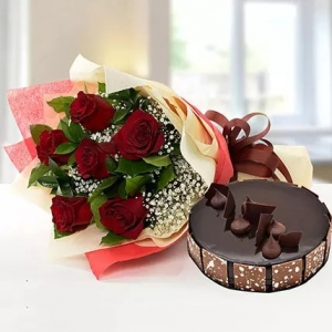 6-red-roses-with-chocolate-cake-birthday-anniversary-flowers-karachi-lahore-islamabad-to-jeddah-saudi-arabia