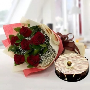 enchanting-rose-bouquet-with-marble-cake-birthday-anniversary-flowers-karachi-lahore-islamabad-to-jeddah-saudi-arabia