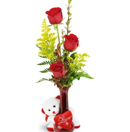 rose-trio-3-red-roses-flowers-Flowers to Toronto, Mississauga, Ontario, Alberta, Calgary, Hamilton, Ottawa, Montreal, Winnipeg allover Canada from Karachi, Lahore, Islamabad Pakistan