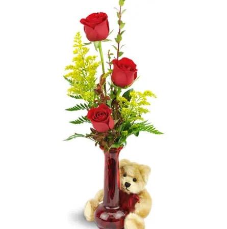 rose-trio-deep-red-roses-Flowers to Toronto, Mississauga, Ontario, Alberta, Calgary, Hamilton, Ottawa, Montreal, Winnipeg allover Canada from Karachi, Lahore, Islamabad Pakistan