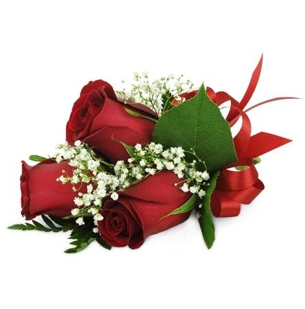 rose-trio-wrist-corsage-Flowers to Toronto, Mississauga, Ontario, Alberta, Calgary, Hamilton, Ottawa, Montreal, Winnipeg allover Canada from Karachi, Lahore, Islamabad Pakistan