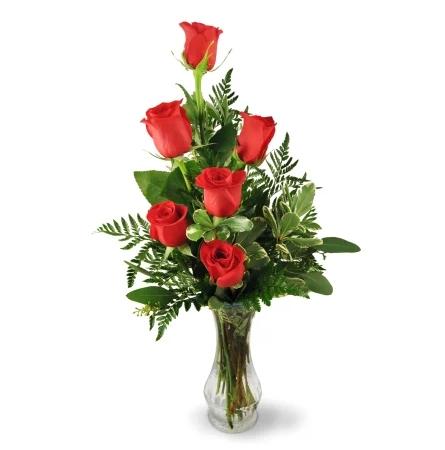 six-red-roses-flowers-Flowers to Toronto, Mississauga, Ontario, Alberta, Calgary, Hamilton, Ottawa, Montreal, Winnipeg allover Canada from Karachi, Lahore, Islamabad Pakistan